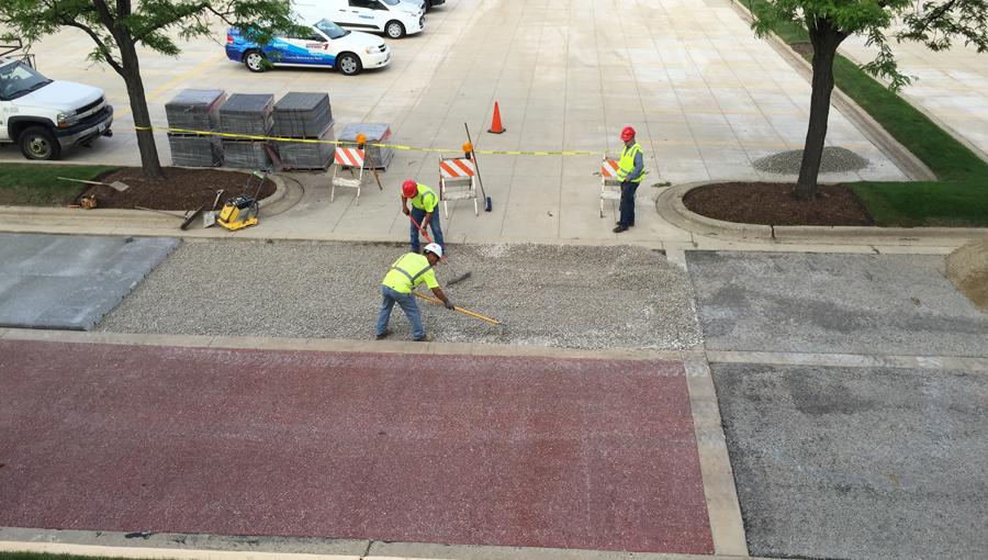 Spancrete and Paver Block Installation at Rabine Paving Headquarters in Schaumburg