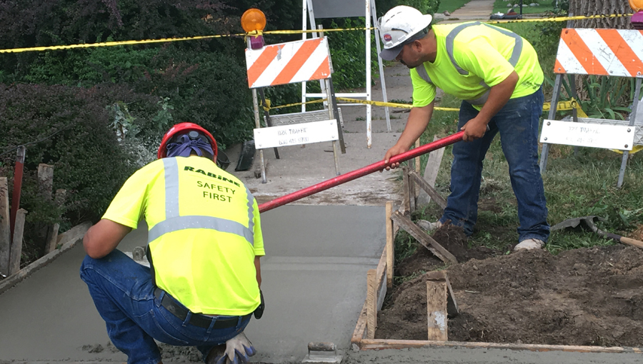 Rabine Paving Crew working on Concrete Sidewalk for a MidWest Paving Project