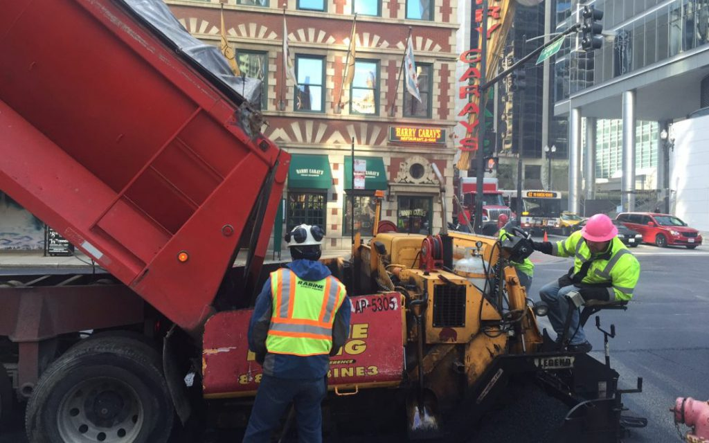 Rabine Paving Crews working on Pavement Maintenance in Chicago